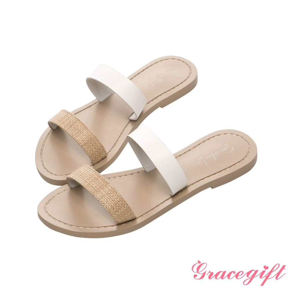 Grace gift X Samantha-聯名雙條帶平底涼拖鞋 米它
