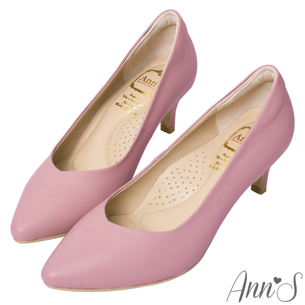 Ann'S舒適療癒系低跟版-V型美腿綿羊皮尖頭跟鞋-紫(版型偏小)