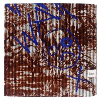 Vivienne Westwood  手繪隨意塗鴉直條底紋潑墨塗鴉純棉帕領巾 (大款/咖啡)