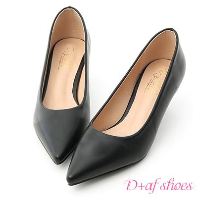 D+AF 莫蘭迪色.簡約尖頭素面中跟鞋*黑