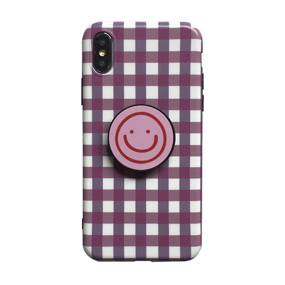 【TOYSELECT】iPhone XR 格紋笑臉氣囊支架手機殼:粉白