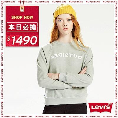 Levis 女款 大學T Line8 歐系簡約 無肩線設計