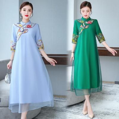 立領刺繡七分袖寬鬆舒適中長款連衣裙S-3XL(共二色)REKO