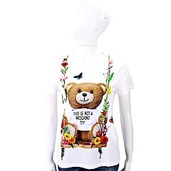 MOSCHINO 花朵鞦韆泰迪熊白色棉質T恤