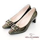 【CUMAR】優雅化身復古雙色小方頭粗跟中跟鞋-墨綠