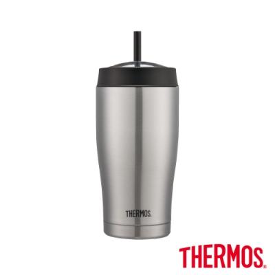 THERMOS膳魔師 不鏽鋼真空吸管隨行瓶0.65L(TS405SS)