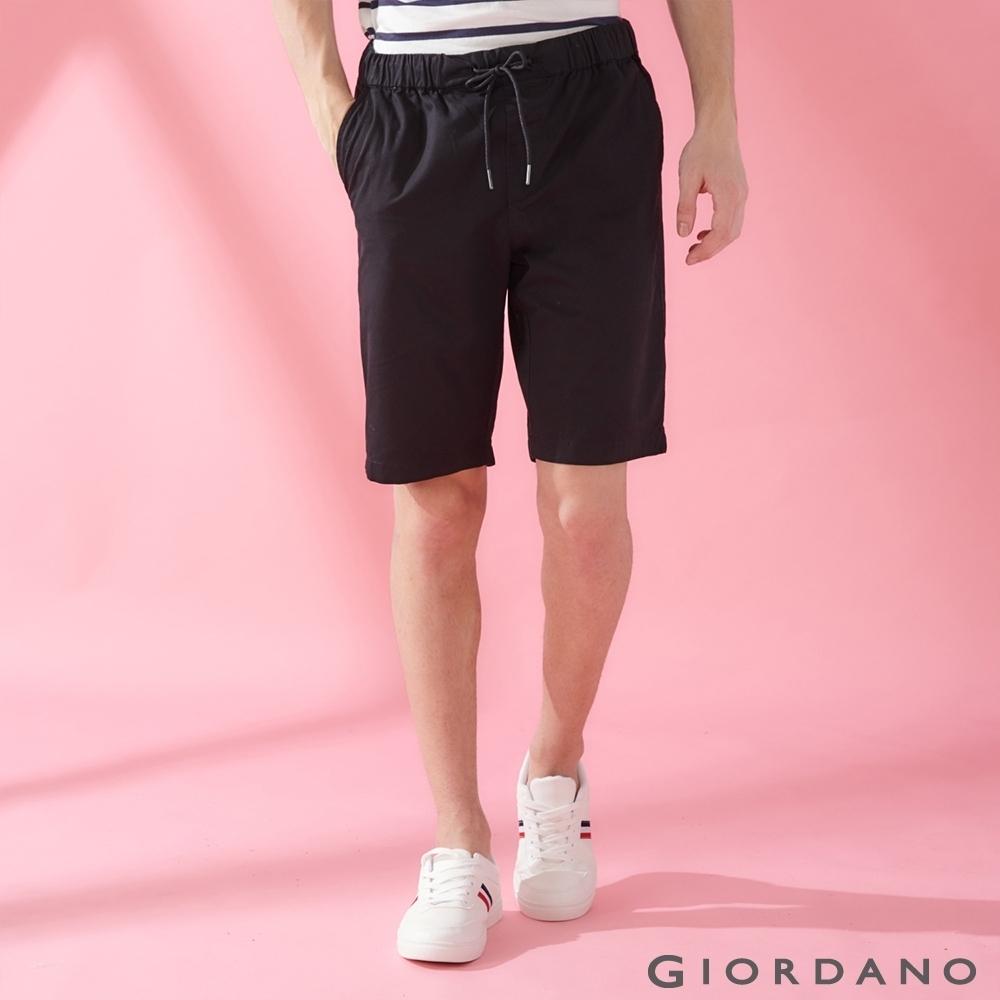 GIORDANO 男裝簡約百搭鬆緊腰抽繩休閒短褲-09 標誌黑