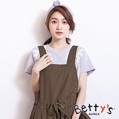 betty's貝蒂思 蕾絲蔞空花V領T-shirt(淺灰)