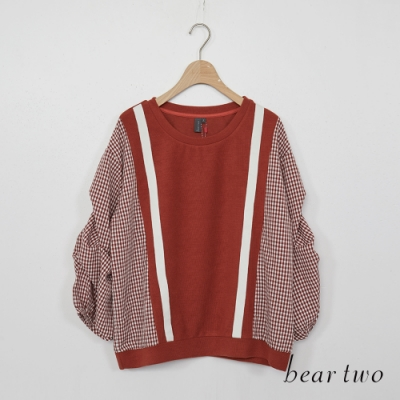 beartwo-寬鬆拼接抛袖上衣-深橘
