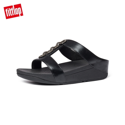 FitFlop FINO SPARKLE SLIDES H型設計雙帶涼鞋-女(靓黑色)