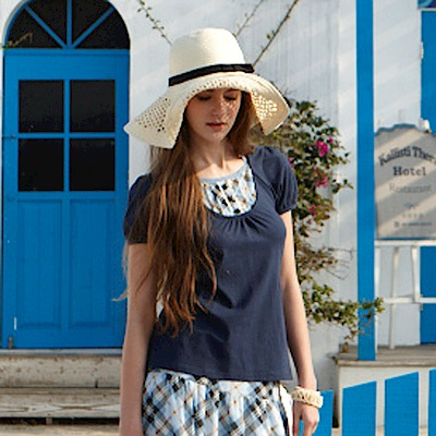 【Kinloch Anderson金安德森女裝】氣質格紋繞頸綁帶假兩件上衣-2色