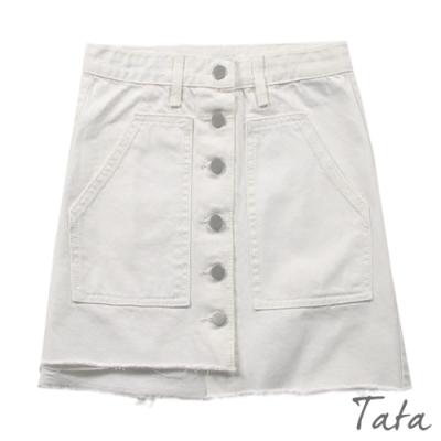 雙口袋排扣牛仔短裙 共二色 TATA-(S~L)