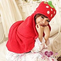 保暖睡袍 可愛草莓 珊瑚絨造型懶人披肩 懶人毯(紅F) AngelHoney天使霓裳