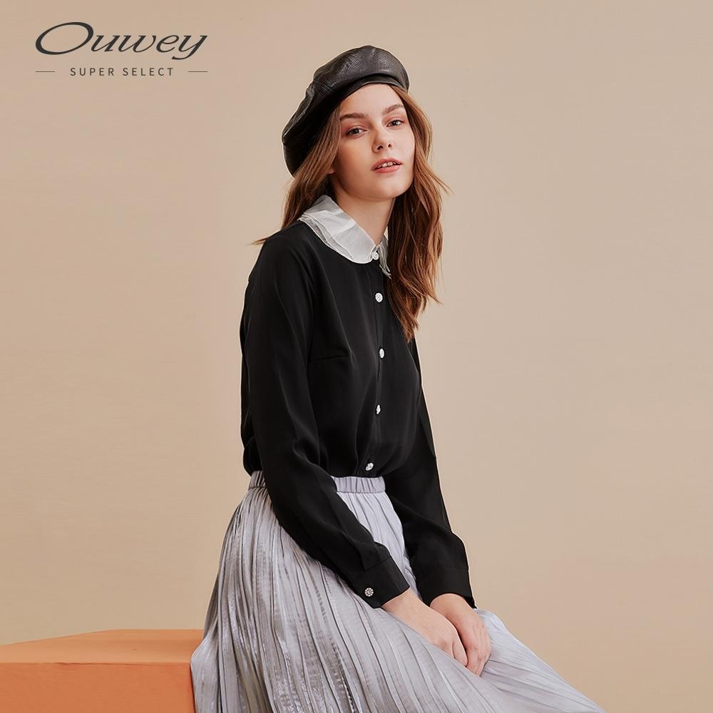 OUWEY歐薇 復古歐根紗層次領襯衫(黑)