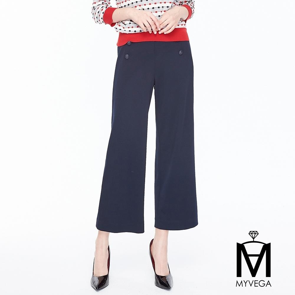 麥雪爾 MA純棉海軍風彈性八分寬褲-藍