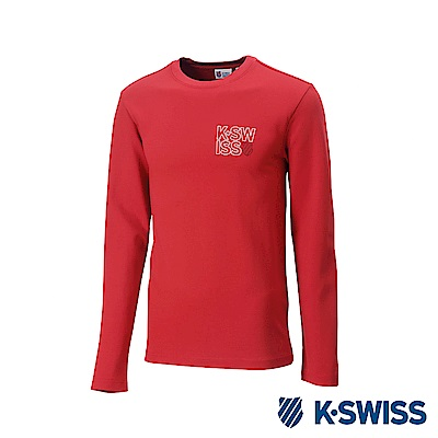 K-Swiss Long Sleeve T-Shirts 印花長袖T恤-男-紅