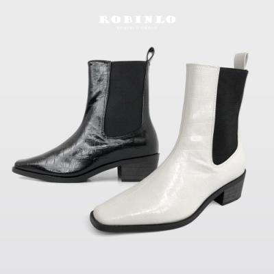 Robinlo俐落有型鱷魚紋小方頭低跟切爾西短靴 黑/米白