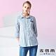 MYVEGA麥雪爾 純棉單口袋條紋七分袖襯衫-藍 product thumbnail 1