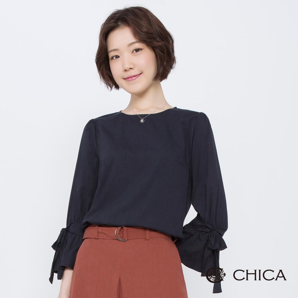 CHICA 優雅舞曲荷葉蝴蝶結袖設計上衣(2色)