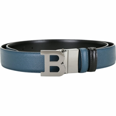 BALLY B BUCKLE 可翻轉字母金屬釦雙面用皮帶(復古藍x黑)