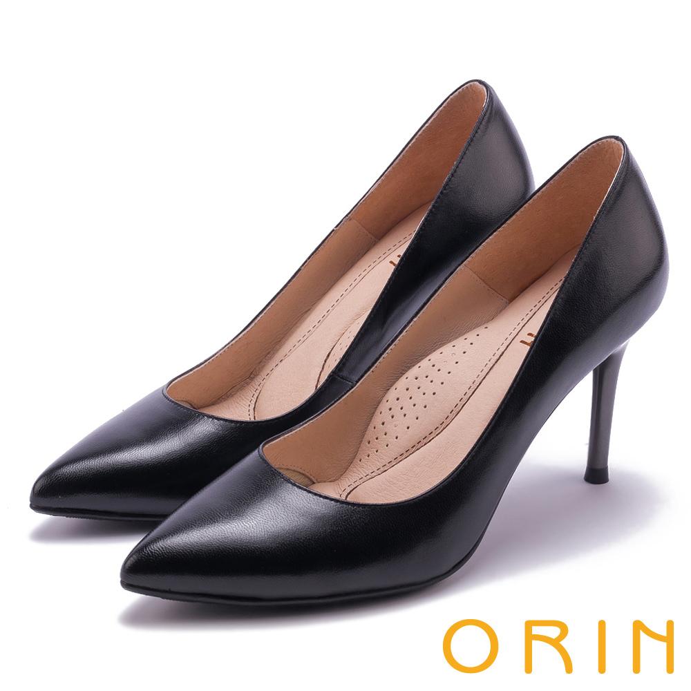 ORIN 真皮典雅素面尖頭 女 高跟鞋 黑色