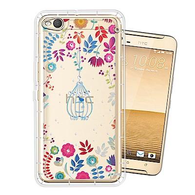 HTC One X9 奧地利水晶彩繪空壓手機殼(鳥羽花萃)