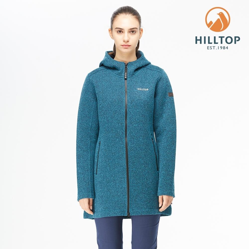 【hilltop山頂鳥】女款POLYGIENE抗菌 長版連帽刷毛外套H22FW1海盜藍麻花