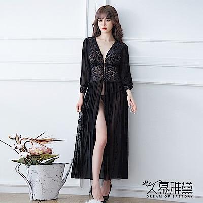 性感睡衣 蕾絲緞帶深V薄紗長裙睡衣 久慕雅黛