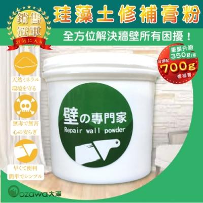 OZAWA 大澤 珪藻土牆壁修補膏粉+天然可分解孟宗竹吸管 1組(牆壁 裂痕修補 壁癌)