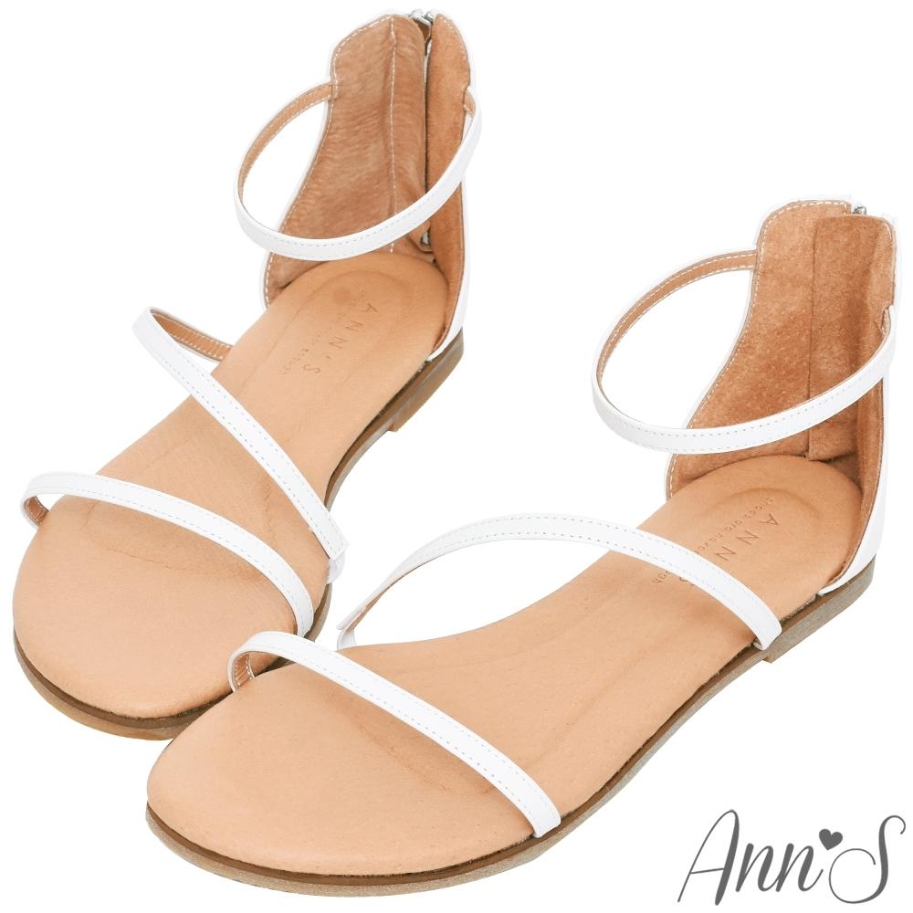 Ann'S黃金比例三條帶-頂級牛皮後拉鍊平底涼鞋(版型偏小)-白