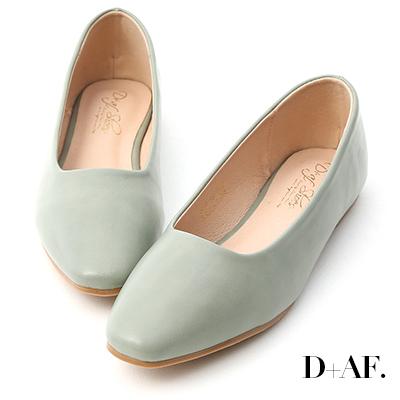 D+AF 溫柔春氛.小方頭素面百搭平底鞋*綠