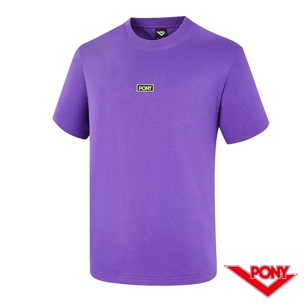 【PONY】刺繡LOGO短袖T恤上衣 男款-紫