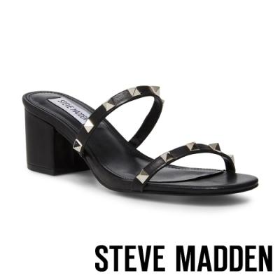 STEVE MADDEN-ISME 前衛搖滾鉚釘粗跟涼拖鞋-黑色