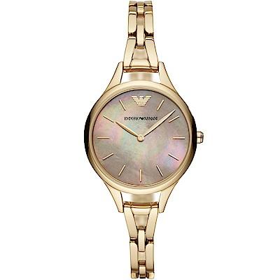 Emporio Armani 璀璨閃耀珍珠貝時尚手錶(AR11140)-金/32mm