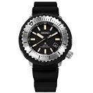 SEIKO 精工 PROSPEX 太陽能 潛水錶 防水200米 矽膠手錶-黑色/47mm