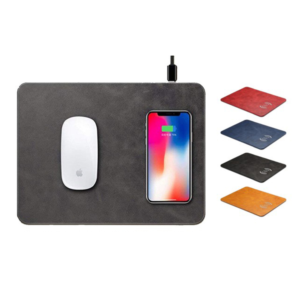 【iBRIDGE】10W+蘋果7.5W快充無線充電皮革滑鼠墊 product image 1