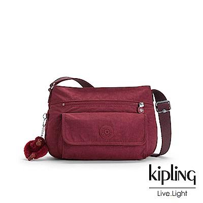 Kipling高雅酒紅掀蓋側背包-SYRO