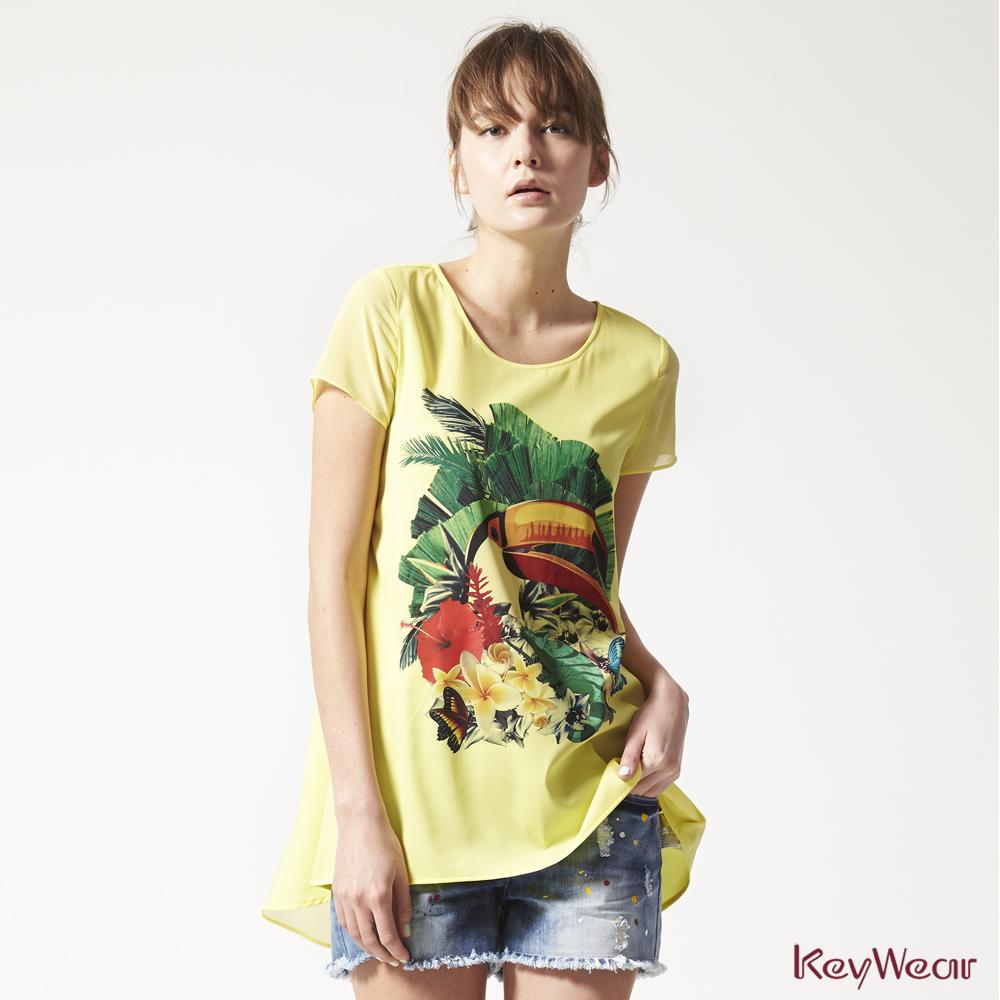 KeyWear奇威名品    歐美風時尚鮮豔印花短袖上衣-黃色