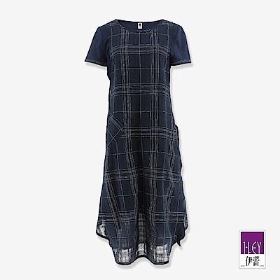 ILEY伊蕾 格紋活片假兩件洋裝(藍)