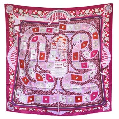 HERMES 遊戲絲質方巾/披巾(紫紅色)