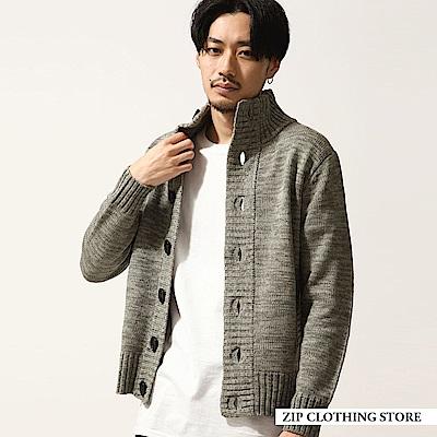 高領開襟針織外套-6色-ZIP日本男裝