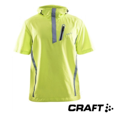 Craft 男 BRILLIANT WINDBREAKER 連帽短袖反光防風防潑跑步上衣_螢光黃