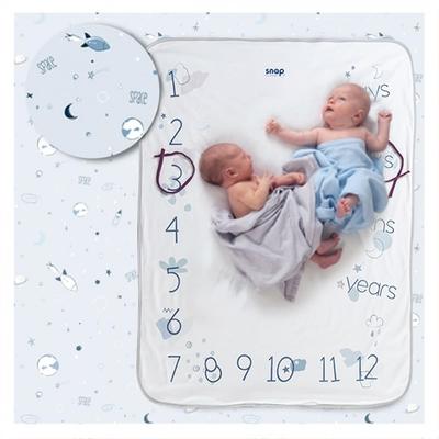 【波蘭Snap The Moment】寶寶寫真毯-Powder Blue(抗菌銀離子 雙面可用 拍照毯 嬰兒毯)