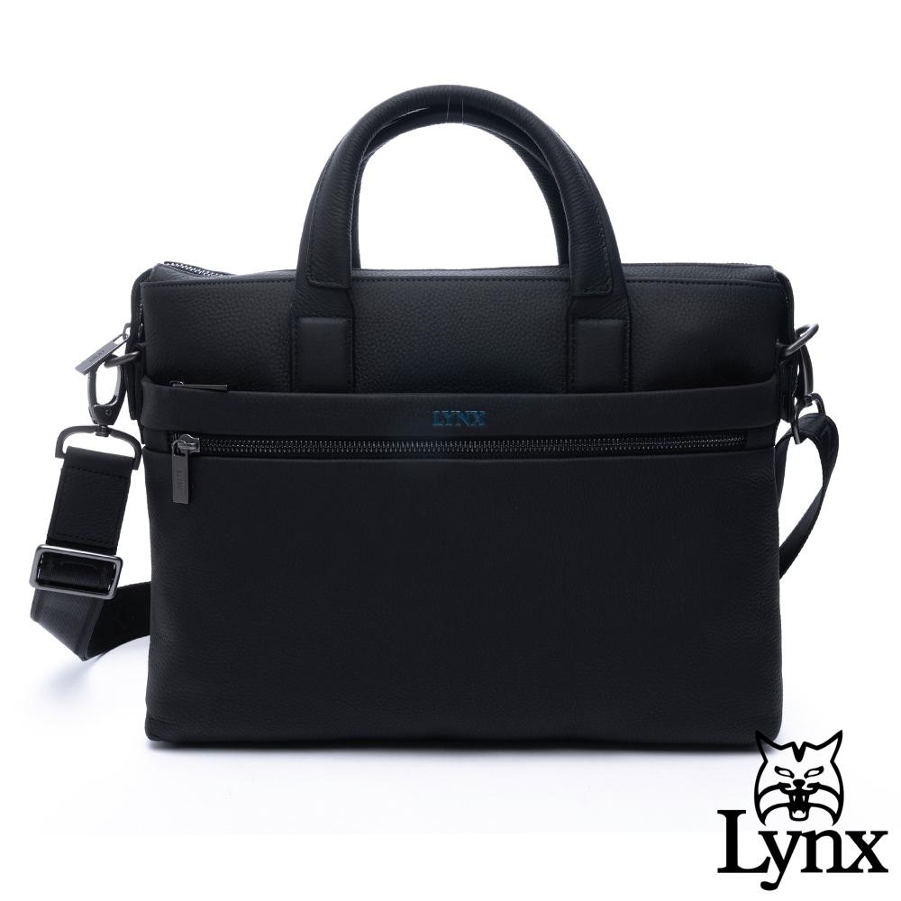 Lynx - 美國山貓商務質感牛皮荔枝紋多袋手提斜背公事包