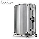 Bogazy 迷幻森林III 29吋鋁框新型力學V槽鏡面行李箱(質感灰)