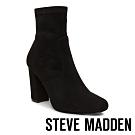STEVE MADDEN-EXPERT靚黑拉鍊式粗跟尖頭粗高跟短靴-黑色