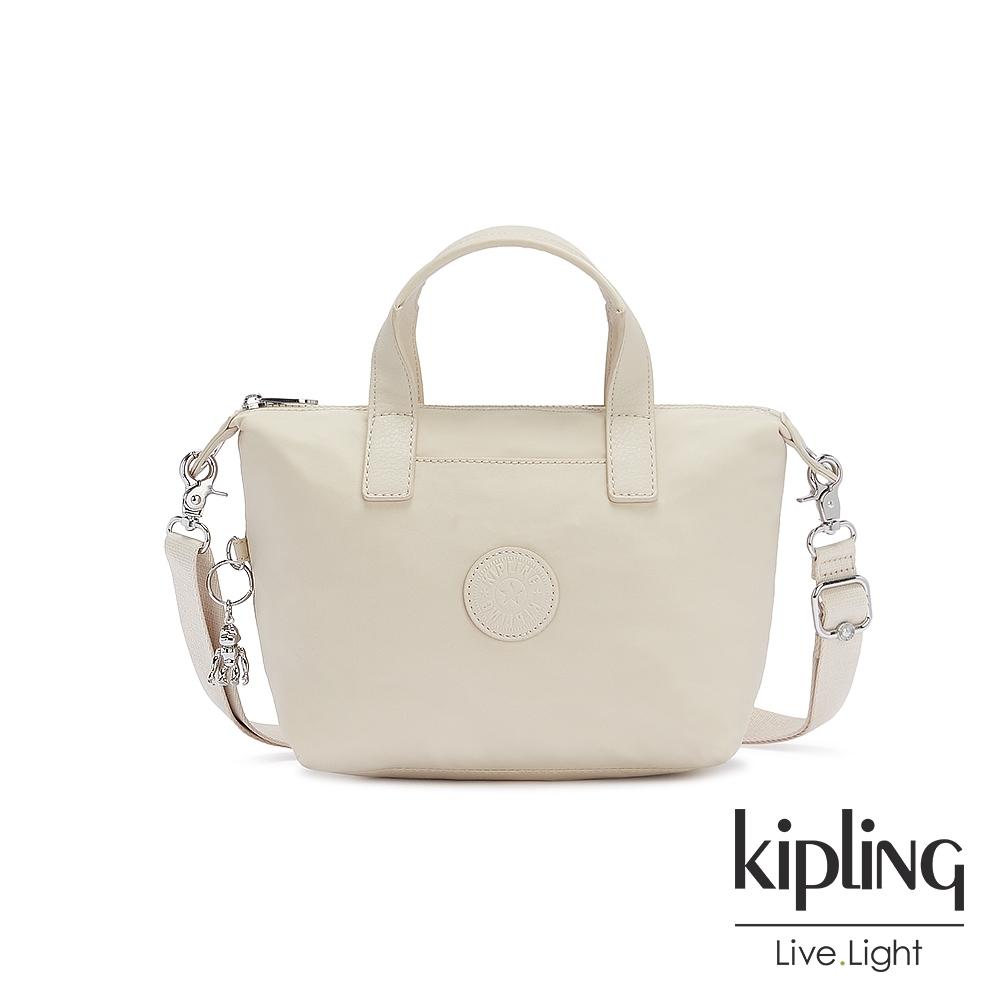 Kipling 閃亮象牙粉簡約手提肩背托特包-KALA COMPACT