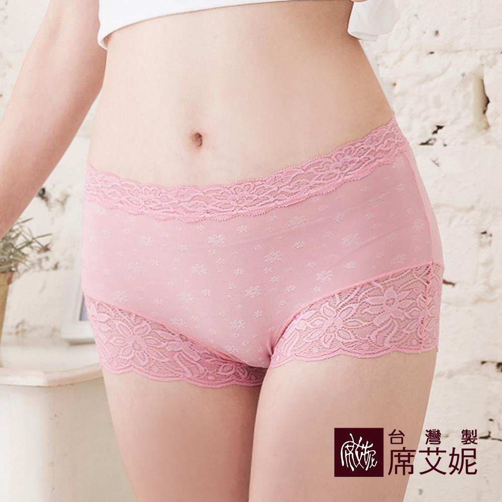 席艾妮SHIANEY 台灣製造(5件組)中大尺碼 蕾絲中腰平口內褲 舒適包覆