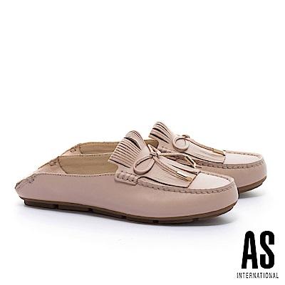 拖鞋 AS 反摺流蘇造型蝴蝶結全真皮莫卡辛平底拖鞋-米