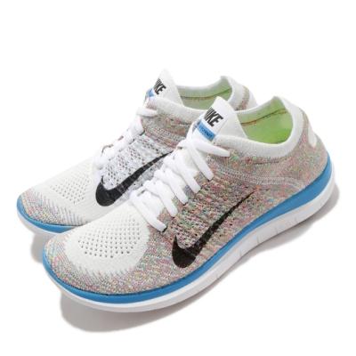 Nike 慢跑鞋 Free 4 Flyknit 運動 女鞋 輕量 透氣 舒適 赤足 路跑 球鞋 白 彩 631050104